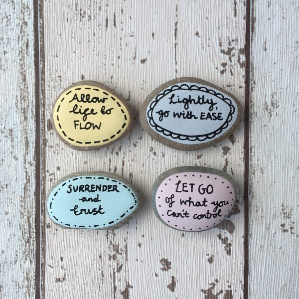 Let go and allow life to flow hand painted affirmation pebbles