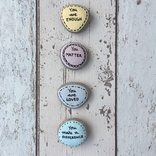 You are enough hand painted affirmation pebbles