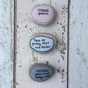 Peace & Nourish hand painted affirmation pebbles