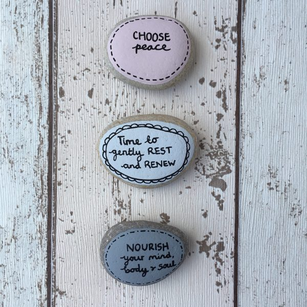 Peace & Nourish hand painted affirmation pebbles