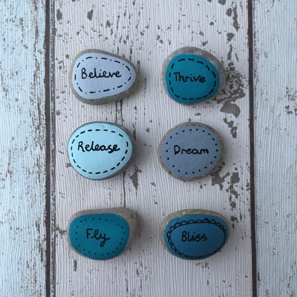 Believe & Dream Meditation & Daily Intention hand painted pebbles