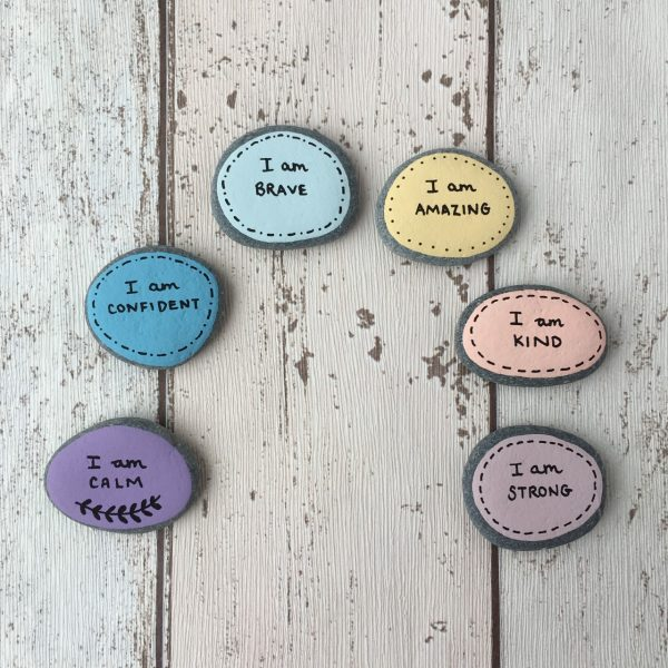 Rainbow positive affirmation pebbles