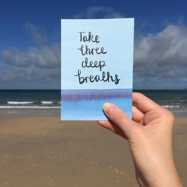 'Take three deep breaths' Individual Postcard
