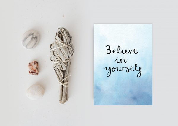 Believe in yourself motivational inspirational positive affirmation postcard