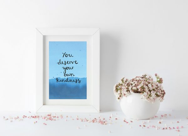 Self-kindness motivational inspirational positive affirmation postcard
