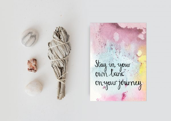 Stay in your own lane motivational inspirational postcard