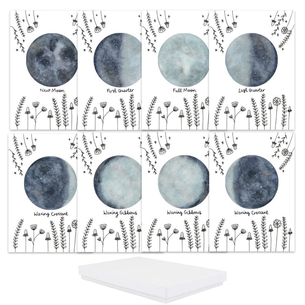 Moon phases set of 8 cards gift box