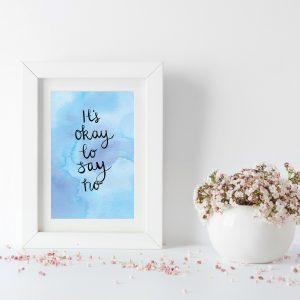 It's okay to say no motivational inspirational positive affirmation postcard