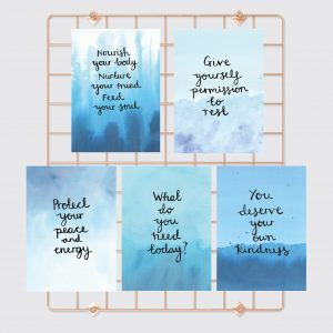Nourishing Self-Care Motivational inspirational affirmation postcard set