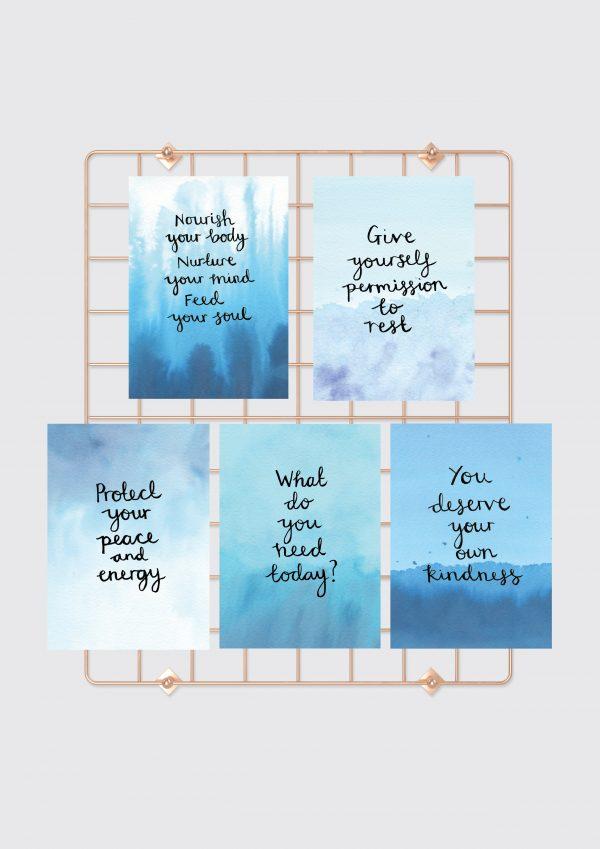 Nourishing Self-Care Motivational inspirational affirmation postcard set