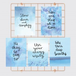 Overwhelm to calm motivational inspirational positive affirmation postcard set