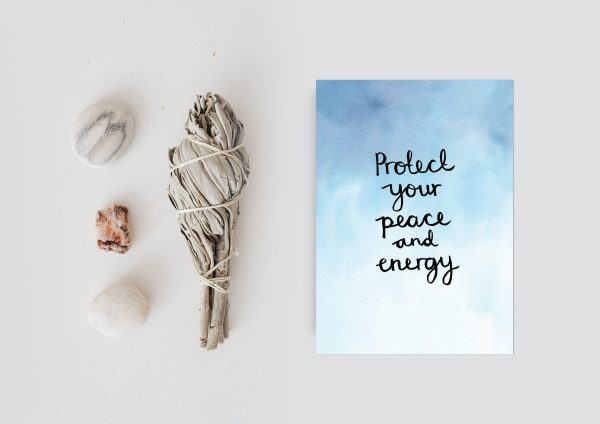 Protect your peace and energy motivational inspirational positive affirmation postcard