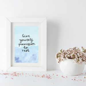 Give yourself permission to rest motivational inspirational positive affirmation postcard