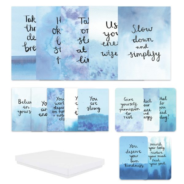 Calm. Confident & Nourishing Self-Care Motivational inspirational postcard, sticker and affirmation self-care gift box set