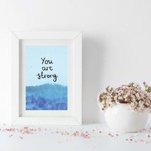 You are strong motivational inspirational positive affirmation postcard