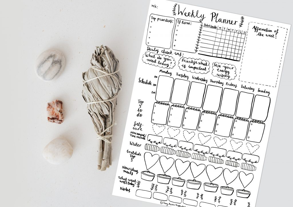 Nourishing self-care weekly planner printable