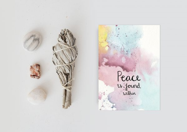 Peace is found within inspirational motivational postcard