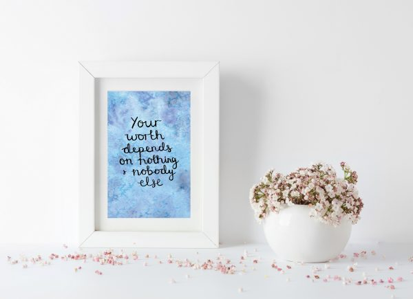 Self-worth motivational inspirational positive affirmation postcard