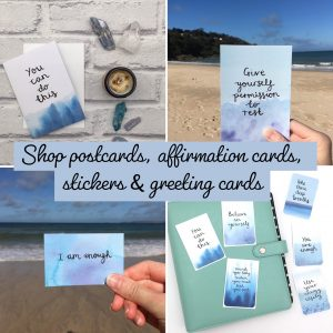Positive postcards, affirmation cards, stickers and greeting cards shop